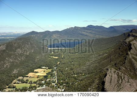 Rocks and mountains in background at Boroka lookout near Halls Gap in Grampians National Park. Lake Bellfield in the Grampians National Park Victoria Australia.