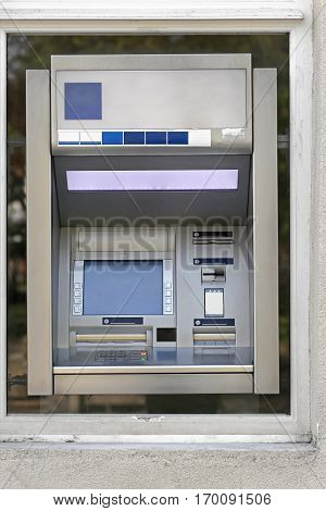Automated Teller Machine in Bank Exterior Window