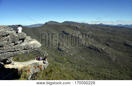 Reed Lookout The Balconies and surrounding hills at the Grampians in Halls Gap Valley Western Victoria Australia