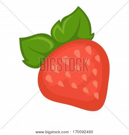 Strawberry whole fruit and leaves isolated on white background. Garden red strawberry with leaves realistic vector illustration. Ripe berry edible fruit, refreshment dessert vegetarian organic food