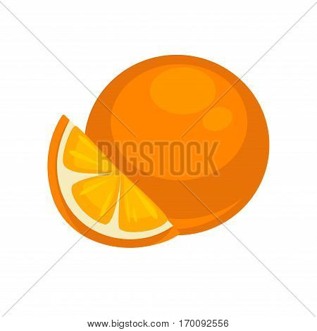 Orange tropical fruit isolated on white. Mandarin orange nutrition dieting dessert, rich on vitamins. Tasty ripe citrus sweet fruit and slice section realistic vector illustration in flat style design