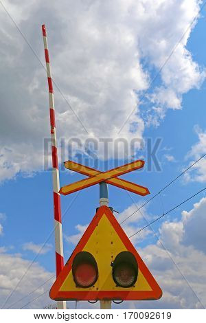 Level Crossing Saltire Sign With Lights And Ramp