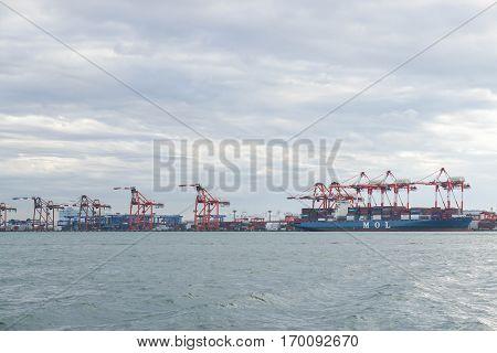 port crane operate for loading and unloading cargo taken at Japan port on 4 December 2016