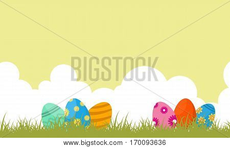 Scenery of easter egg landscape vector art