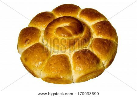 Bread on white table. Bread is bakery. Bread is bake. Bread from wheat.