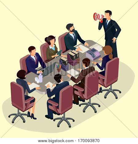 Vector illustration of 3D flat isometric people. The concept of a business leader, lead manager, CEO. Business meeting in a modern office, speaker at a business conference and presentation.