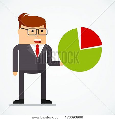 Successful businessman with chart, business situations concept. Working in office, desire to succeed, teamwork and management. Flat vector cartoon illustration. Objects isolated on white background.