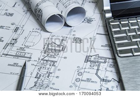 architecture blueprints and home renovation plans on the table and technical pencil. architectural design on paper, construction technical plan, remodel project
