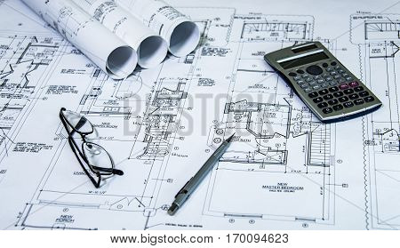 drawings with buidling and design concept, architectural blueprints of new construction, architects plan, interior and exterior architect ideas