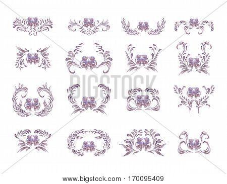 Golden Floral Pattern. Ethnic Flower Ornament