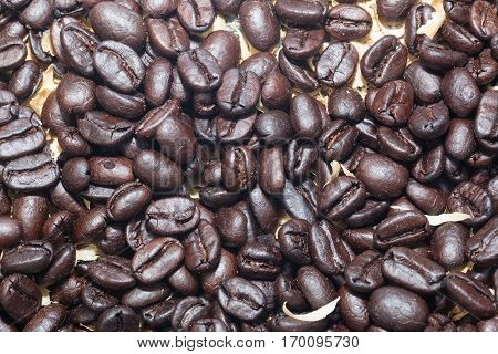 black coffee bean Roasted from the oven