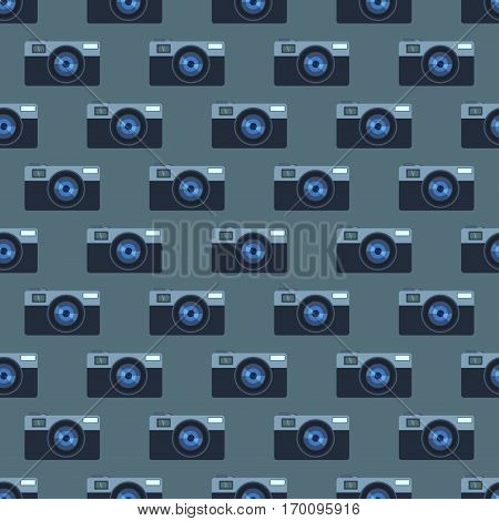 Camera photo optic lense seamless pattern. Different types objective retro equipment, professional look. Digital vintage technology electronic aperture device.