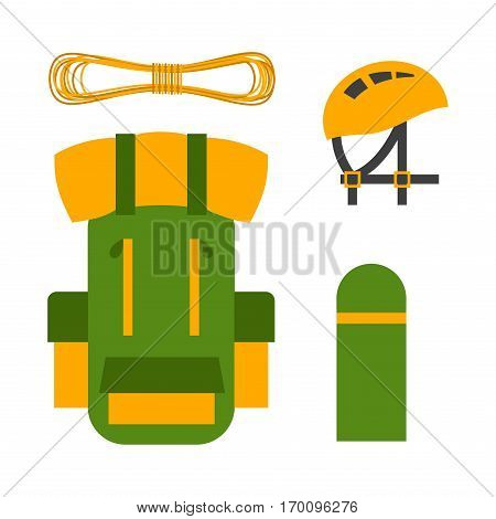 Trekking backpack attributes equipment for climbing. Sport competitions of outdoor championship. Extreme school risk training center mountain adventure sport bag.