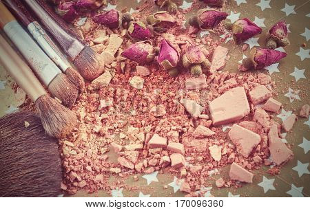Close-up Of Crushed Powder And Blush Beige Color With Makeup Brush
