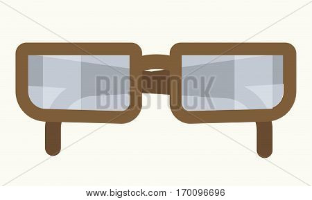 Glasses in rim vector icon. Vintage sunglasses or optical ophthalmology lenses in frame for cinema or 3d stereo movie