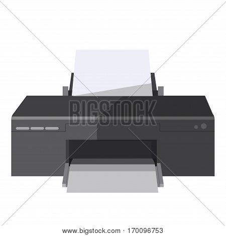 Printer or photocopy and fax machine vector isolated flat icon. Vector office multifunctional copier appliance or device