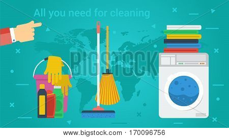 Vector long banner laundry room concept. Cleaning service laundry room and personal cleaning. Washing machine dry linen and cleaning products in flat style on green-blue background