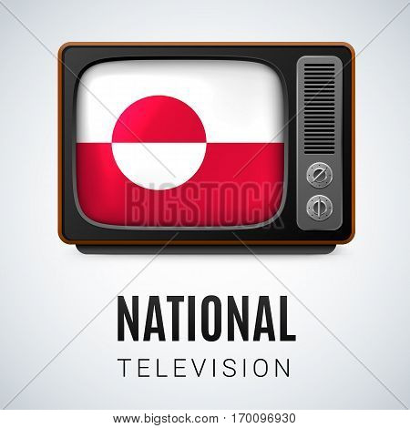 Vintage TV and Flag of Greenland as Symbol National Television. Tele Receiver with flag design