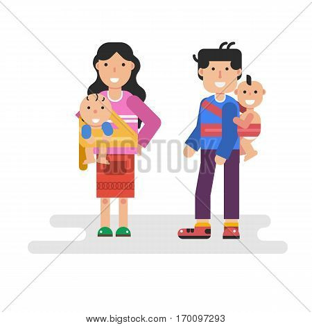 Vector flat isolated illustration of father and mother holding children in sling scarf