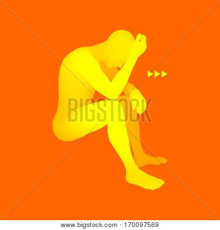 Man Thinks about a Problem. Despair, Depression, Hopelessness, Addiction Concept. 3D Model of Man. Abstract Vector Illustration.
