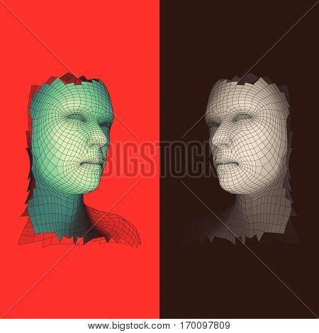 Head of the Person from a 3d Grid. Human Head Wire Model. Face Scanning. View of Human Head. 3D Geometric Face Design. Polygonal Covering Skin. Vector Illustration.
