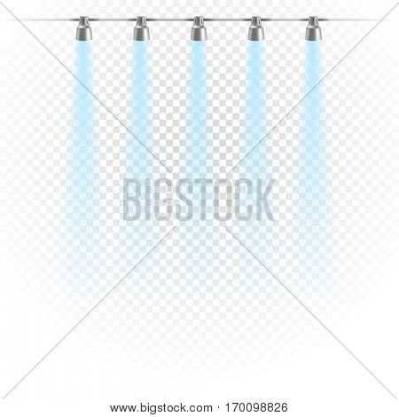 Photorealistic bright stage with projectors. Spot lights isolated on transparent 