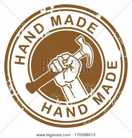 Grunge rubber stamp with hand holding a hammer and the words Hand Made inside