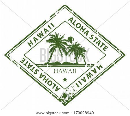 Grunge rubber stamp with palms and the word Hawaii inside