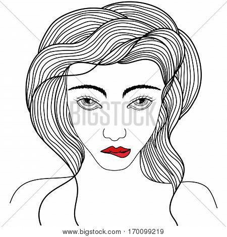 Hand drawn beautiful portriat of stylish young girl is biting her red lips. Tattoo art coloring books. Isolated vector illustration. Trendy print.