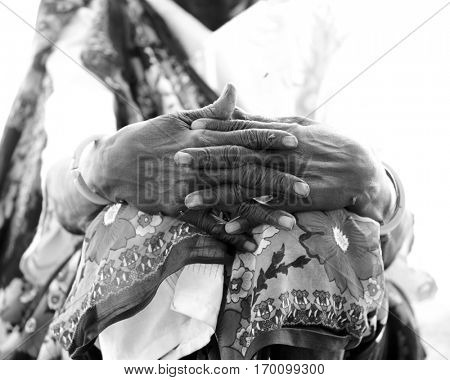 Weathered hand of African woman in South Sudan