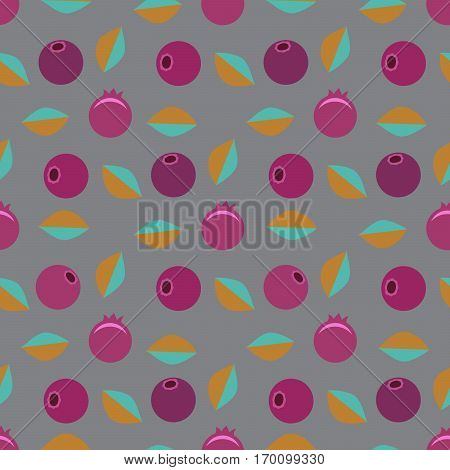 Seamless vector pattern. Is scattered pink blueberrys with blue leaves on a gray background.