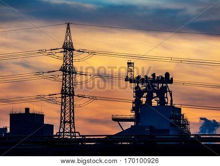 austria, linz, industry in the evening light