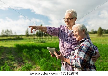 farming, gardening, agriculture and people concept - happy senior couple with tablet pc computer at summer farm