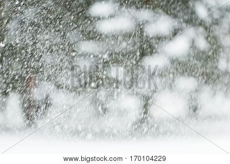 winter holidays, precipitation, christmas, season and weather concept - snowing or snowfall