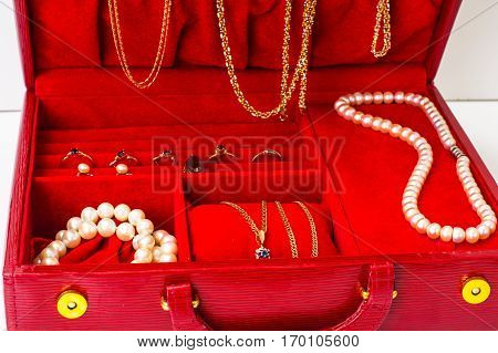 Leather Red Case for jewelry. Studio Photo