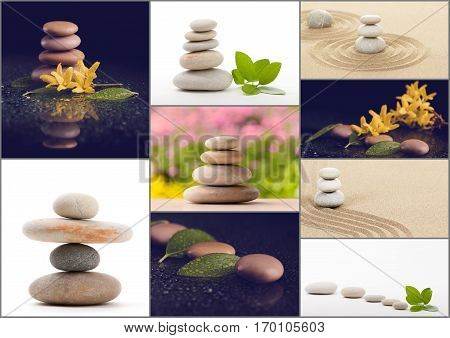 Collection collage of balancing zen pebble stones spa wellness tranquil scene soul equanimity concept mental calmness abstract retro colors