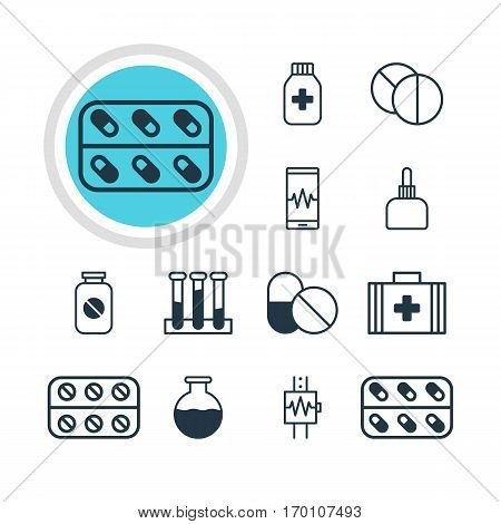 Vector Illustration Of 12 Medicine Icons. Editable Pack Of Pills, Medicine Jar, Heartbeat And Other Elements.
