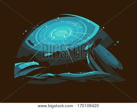 Diver with air tank dives to bottom of ocean. Hobbies diving. Vector illustration