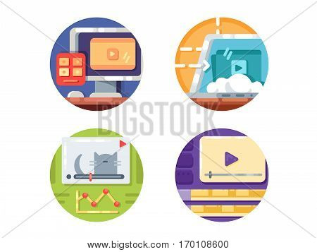 Video media icons. Create and downloading video to internet. Vector illustration. Pixel perfect icons size - 128 px