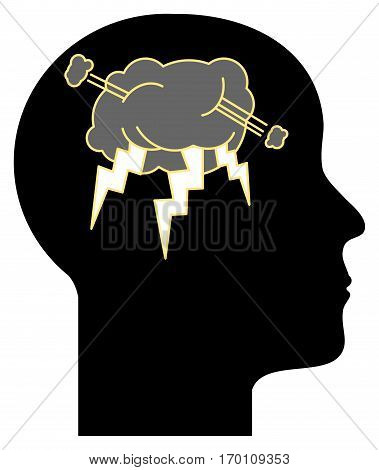 Thinking Head abstract sign or symbol. vector