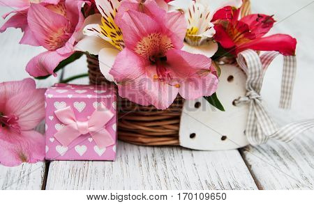 Pink Alstroemeria With Gift Box