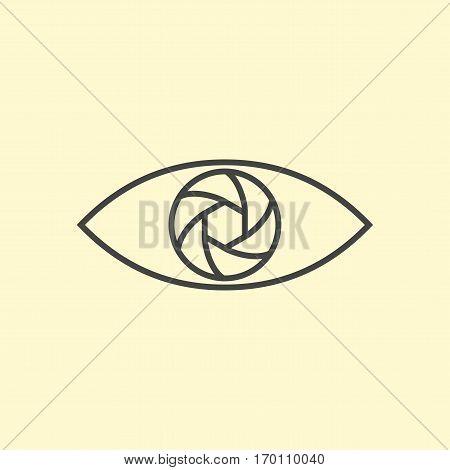 Photography logo design eye. Line art diaphragm eye