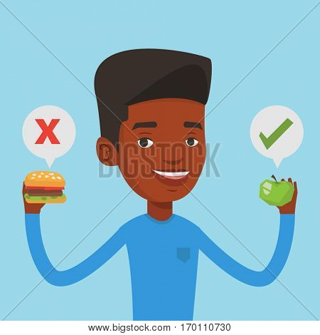 An african man holding apple and hamburger in hands. Man choosing between apple and hamburger. Man choosing between healthy and unhealthy nutrition. Vector flat design illustration. Square layout.