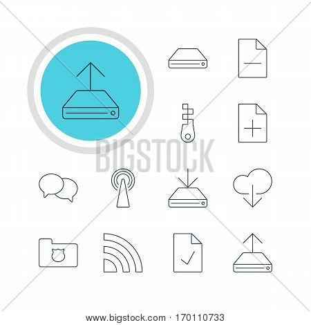 Vector Illustration Of 12 Network Icons. Editable Pack Of Fastener, Data Upload, Hdd Sync And Other Elements.