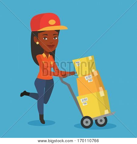 An african delivery postman with cardboard boxes on trolley. Delivery postman pushing trolley with cardboard boxes. Delivery postman delivering parcels. Vector flat design illustration. Square layout. poster