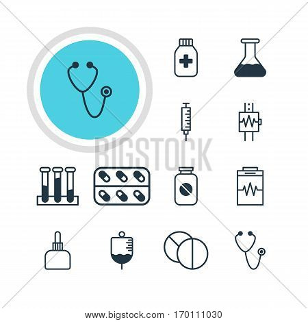 Vector Illustration Of 12 Health Icons. Editable Pack Of Vaccinator, Medicament Pitcher, Antibody And Other Elements.