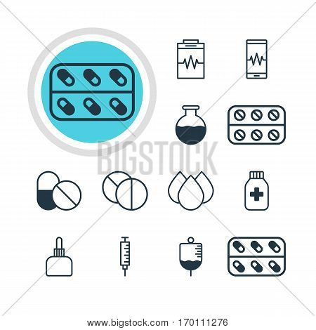 Vector Illustration Of 12 Medical Icons. Editable Pack Of Vaccinator, Trickle, Treatment And Other Elements.