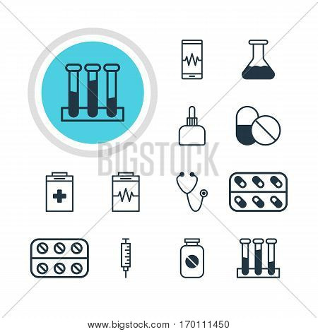 Vector Illustration Of 12 Medicine Icons. Editable Pack Of Pulse, Experiment Flask, Medicine And Other Elements.