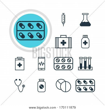 Vector Illustration Of 12 Medicine Icons. Editable Pack Of Pills, Medicine, Exigency And Other Elements.