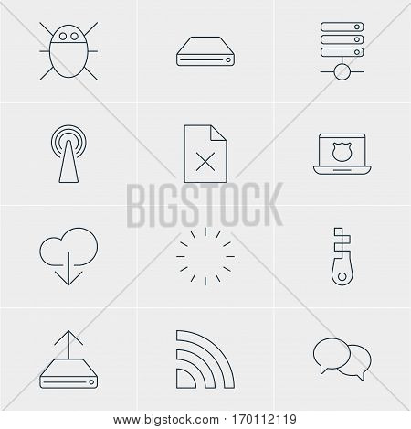 Vector Illustration Of 12 Internet Icons. Editable Pack Of Data Upload, Fastener, Talking And Other Elements.